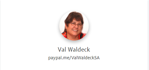PayPal Button for Val Waldeck