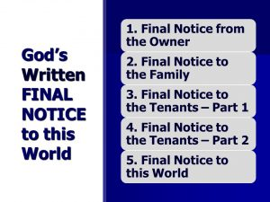 Book of Revelation - Final Notice from the Owner
